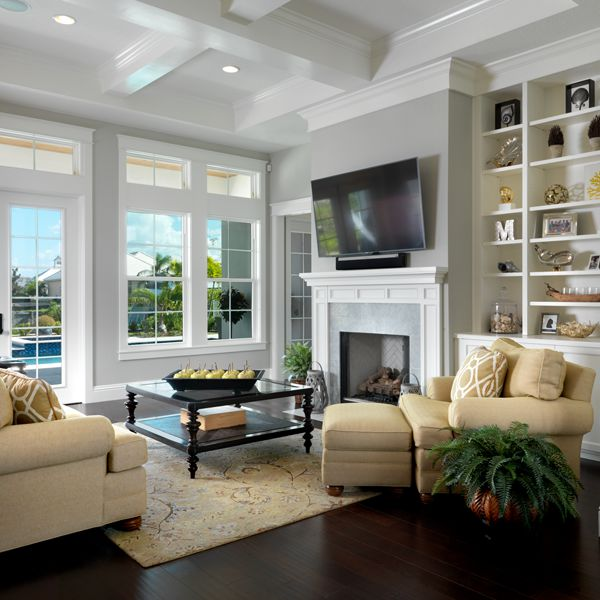 Living Room At Key West Two Story By Custom Home Builder Camlin Custom Homes