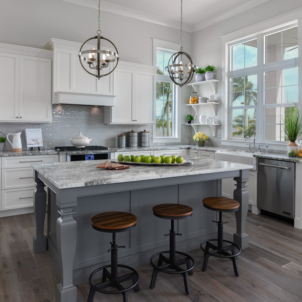 Kitchen At The Courageous at Redfish Cove By Custom Home Builder Camlin Custom Homes