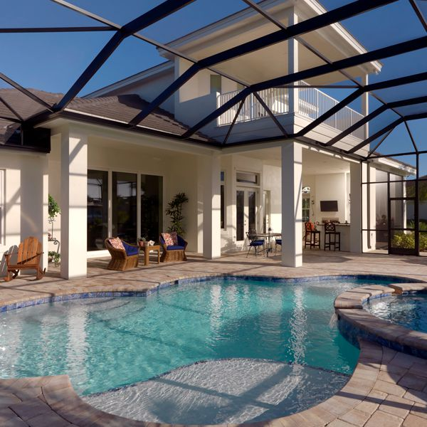 Pool and Spa At British West Indies Two Story By Custom Home Builder Camlin Custom Homes