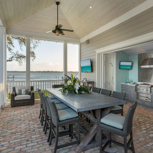 Poolhouse Kitchen At Riverfront Low Country By Custom Home Builder Camlin Custom Homes