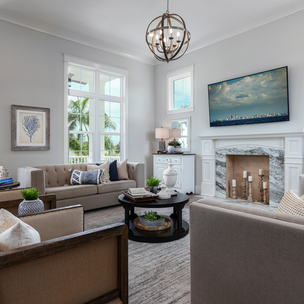 Living Room At The Courageous at Redfish Cove By Custom Home Builder Camlin Custom Homes